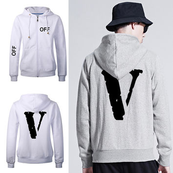Thicken Hats Hoodies Hip-hop Tops Winter Alphabet Zippers Jacket [10609285063]