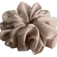 Light Silvery Brown Large Chiffon Scrunchies Stylish Accessories Hair Band Ponytail Holder Teen Girls Women