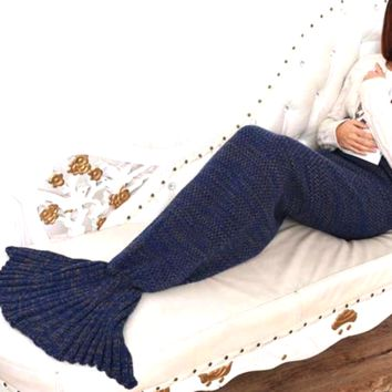 Navy Mermaid Blanket