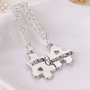 Fashion New Mens&Women Couple Sterling Silver Initial Puzzle Pendant Necklace Best Friends Necklace (Color: Silver)