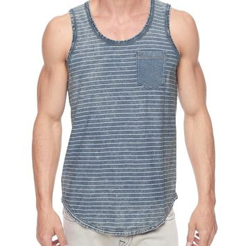 True Religion Striped Mens Tank - Indigo White Stripe