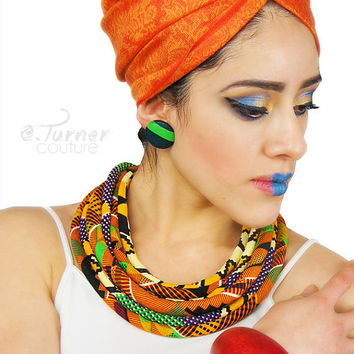 Kente Necklace - African Kente Jewelry - African Kente Print Necklace - blue, red, yellow & black, pink - Ghana Jewelry