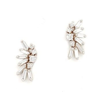Fireworks 18k Gold Diamond Baguette Earrings