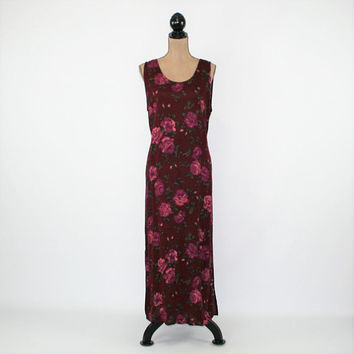 90s Sleeveless Summer Dress Women Large Rayon Floral Maxi Dress Maroon Purple Roses Print Dress Size 12 Vintage Clothing Womens Clothing