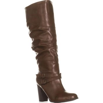SC35 Sophiie Knee High Slouch Boots, Cognac, 10 US