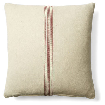 French Laundry Home, Stripe 20x20 Cotton Pillow, Red, Decorative Pillows
