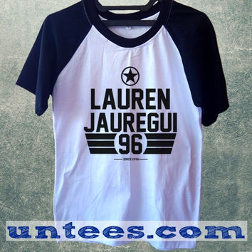 Lauren Jauregui Fifth Harmony Basic Baseball Tee Black Short Sleeve Cotton Raglan T-shirt
