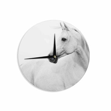 Pale Horse - White Black Animals Photography Wall Clock