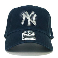 New York Yankees '47 Brand Adjustable Cap + Swarovski Crystals
