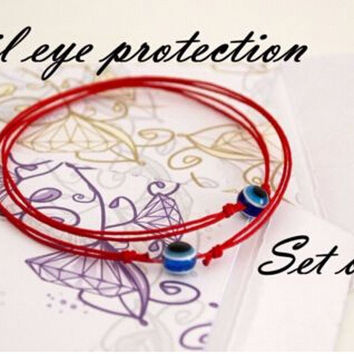 JINSE Red String Blue Evil Eye Simple Cheap Bracelet Fashion Kabbalah Bracelet For Women Baby Child Set of Two  BRS004