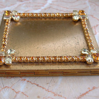 Vintage Jeweled Compact.  Amber, Citrine on Gold