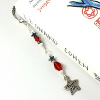 Celestial Bookmark Star Peace On Earth Red Hematite Silver Handmade
