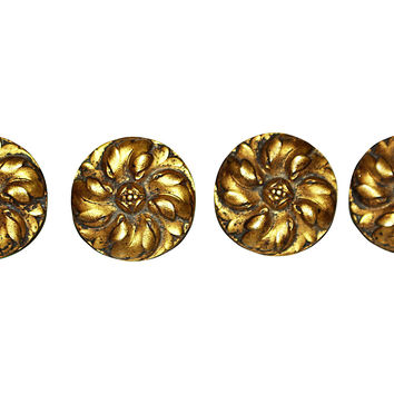 French Dore Bronze Daisy Mounts, S/4