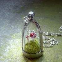 Terrarium Moss Toadstool Dome Necklace The by RenataandJonathan