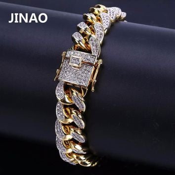 """JINAO 2018 New Style Men Hip Hop Jewelry Bracelet Copper Gold Color Plated Iced CZ Stone 14mm Chain Bracelets With 7"""" 8"""" Gifts"""