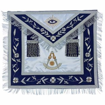 Masonic Past Master Apron Gold and Silver Hand Embroidery Apron Silk