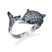 Blue CZ's Dolphin Ring