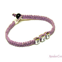 Run Bracelet, Light Purple Macrame Hemp Jewelry for Runners, Free North American Shipping