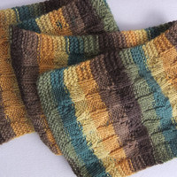 Multicolor Unisex Hand Knit Wool and Acrylic Reversible Scarf in Gold, Yellow, Emerald, Olive, Chocolate, and Latte