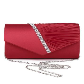 New 2017Women Satin Clutch Bag Rhinestone Evening Purse Ladies Day Clutch Chain Handbag Bridal Wedding Party Bolsa Mujer