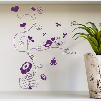 Wall Decal Tree Flower Bird Love Heart Baby Design Decals for Girls Boys Nursery Kids Room Playroom Vinyl Stickers Home Decor Murals 3823