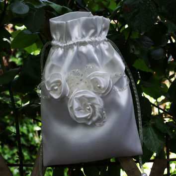 This could be Yours! - Bridal Money Bag, Ivory Satin Flowers & Pearls
