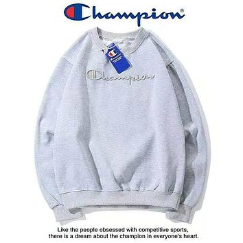 Champion Autumn And Winter New Fashion Bust Embroidery Letter Women Men Long Sleeve Top Sweater Gray