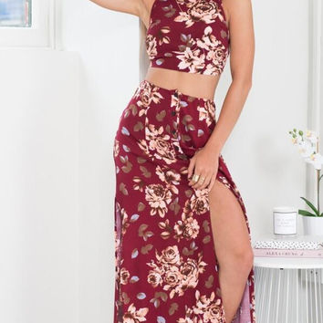 Red Wine Floral Bow Halter Top with Maxi Slit Skirt