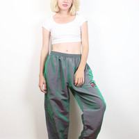 Vintage SURF STYLE Pants Green Pink Iridescent Shine 90s Slouchy Track Pants 1990s Elastic Waist Hem Pants New Wave Windbreaker M L Large XL