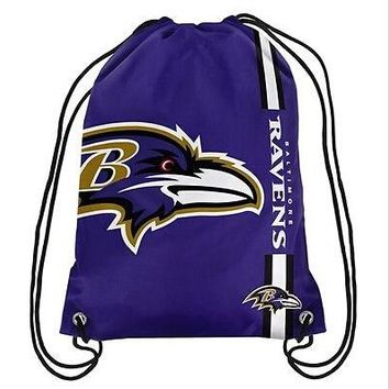 Baltimore Ravens Drawstring Backpack Digital Printing Knitted Polyester Custom Backpack