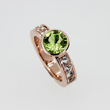 Peridot engagement ring made from rose gold, white sapphire ring, bezel engagement ring, rose gold, green engagement, peridot solitaire