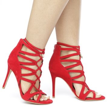 KEFANI LACE UP HEEL - RED