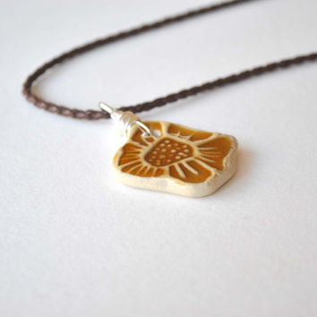 Flower Necklace, Ceramic Pendant Necklace, Braided Leather Cord