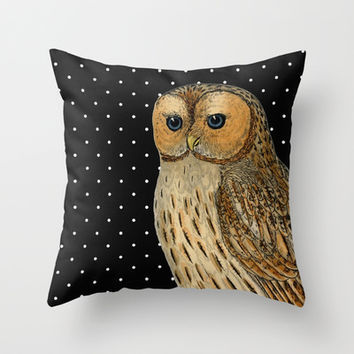 Black White Polka Dots Owl Vintage Illustration Throw Pillow by Cabinet Of Pretty Things