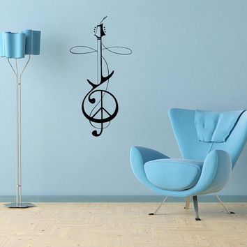 Wall Decals Vinyl Decal Sticker Wall Murals Wall Decor Music Violin Treble Clef (OS215)