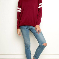 Burgundy Stripe Sleeve Loose Sweater