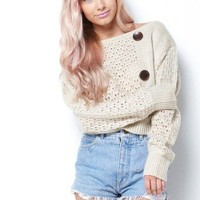 Button Crop Sweater