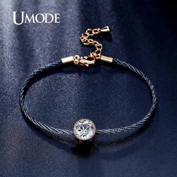 UMODE New Simple 1.5ct  CZ Crystal Gold Color Solitaire Rope Chain Bracelets for Women Pulseira Feminina Jewelry Bangles UB0088