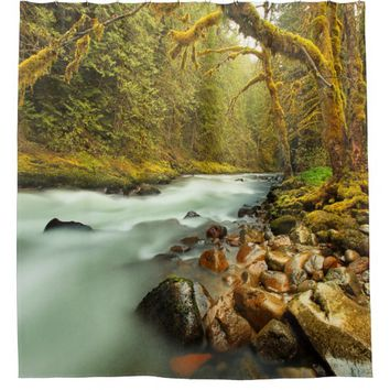 Woodland Landscape with Flowing Stream Shower Curtain