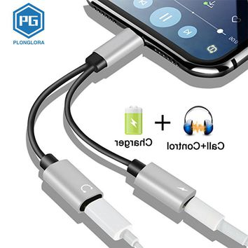 Plonglora 2 in 1 Audio Charging Adapter Cable for iPhone 7 8 Plus X Splitter Support IOS 11 Double Jack Music Call Converter