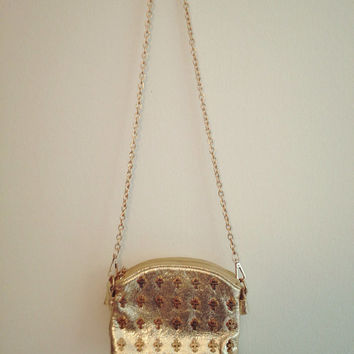 Gold cross studded double pocket chain purse by WildEdge on Etsy