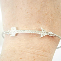 Silver Arrow Bracelet - Bangle Bracelets - Rhinestone Jewellery - Sideways Jewelry - Pave Bracelets - Archery Jewlery - Arrow Bangles