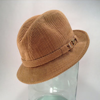 Tan Corduroy Fedora - Crease Crown Hat - Short Brim Cap - Ladies' or Mens' - Small Gold Tone Buckle - Midcentury Fall Fashion