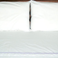 Luxury 3pcs King/queen size  BEDDROOM SET Percale cotton 100% with grey grossgain ribbon pleated.