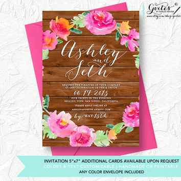 Shabby chic wedding invitation, peony wreath invitation, wood country chic invitations, floral wedding invitations, country chic, pink.