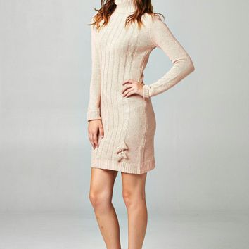 Women's Cable Knit Turtle Neck Sweater Dress