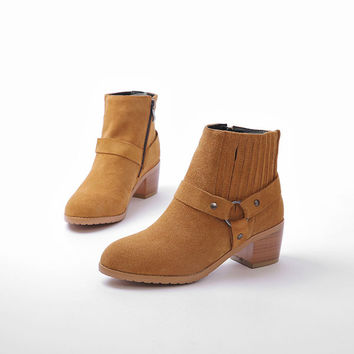 New Buckle Side Zipper Suede Ankle Boots