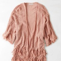 AEO FRINGE KNIT OPEN SWEATER