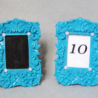 Turquoise Blue Custom Table Number Frames With Pearls Chalkboard or Printed Vintage Baroque Style Beach Wedding Photo Frame Shabby Chic