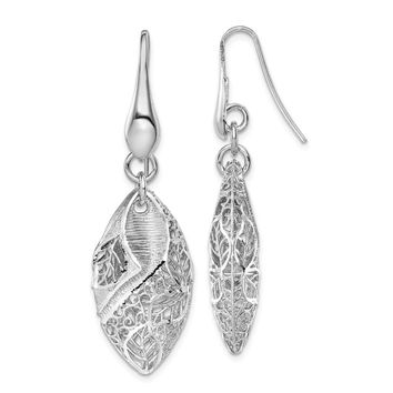925 Sterling Silver Rhodium-plated Oval Leaf Dangle Earrings